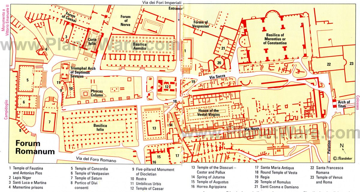 Forum Romanum Site Map Roman Forum Rome City Map City Layout
