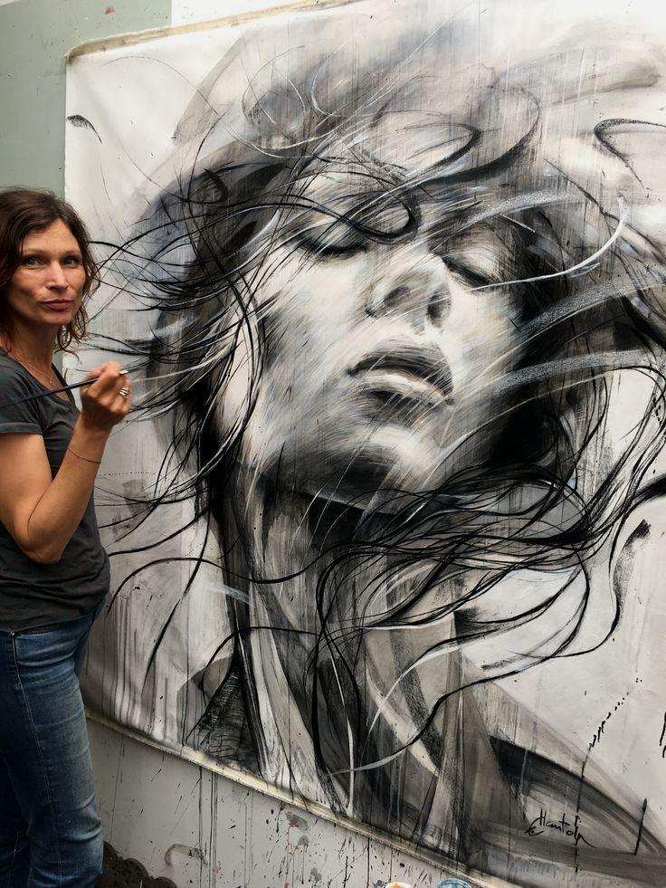 150x130cm #oiloncanvas #painting #drawing #ewahauton #studio #blackandwhite #face #contemporaryart