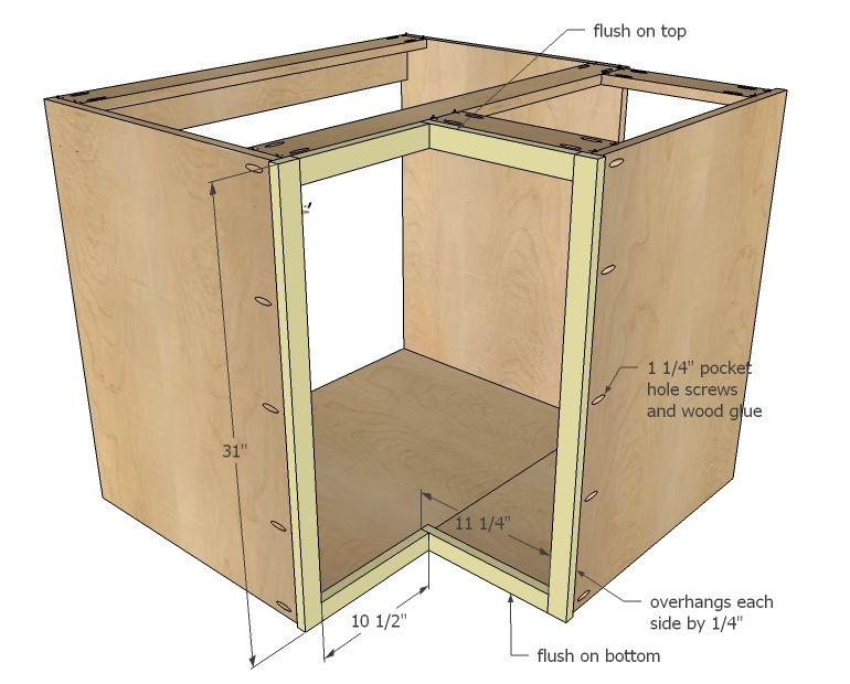 Ana White Build A Corner Base Easy Reach Kitchen Cabinet Basic Model Free And Easy Diy Project And Furniture Plans