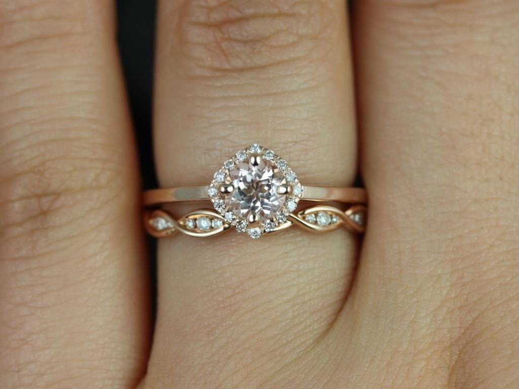 Kyla 5mm & Ember 14kt Rose Gold Morganite And Diamond Cushion Halo Wedding  Set (other Metals And Stone Options Available)