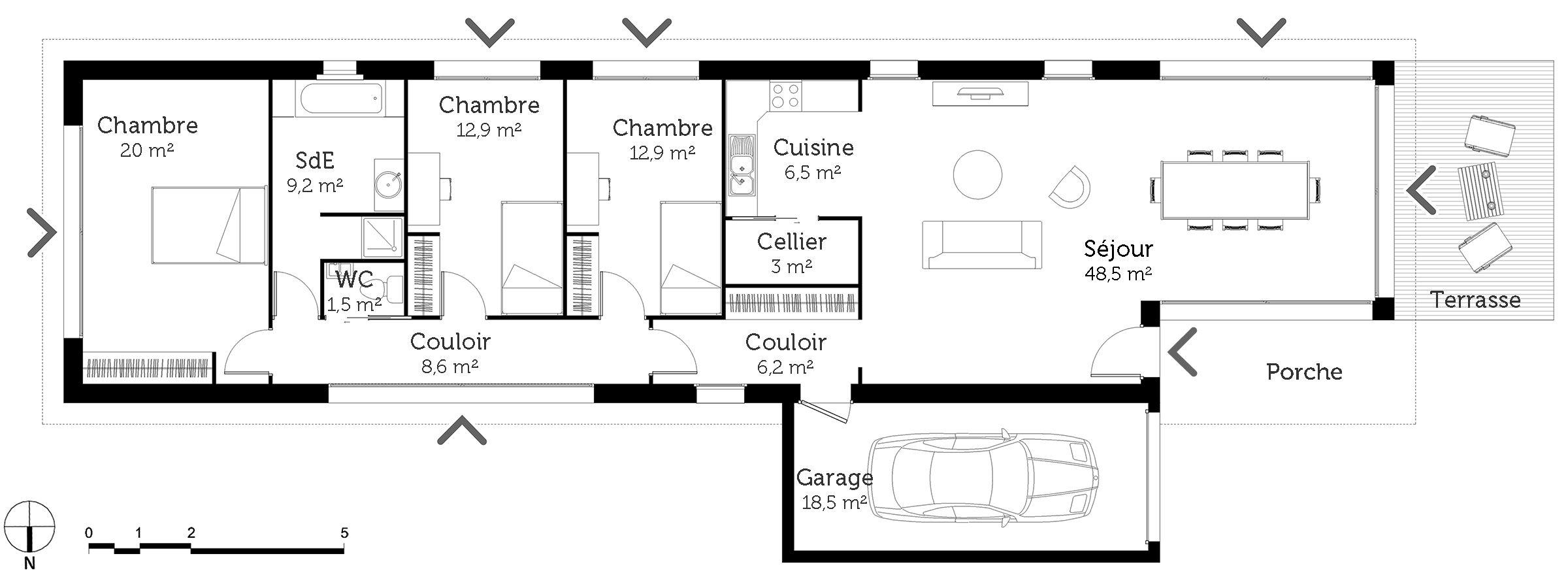Plan Au Sol Plan Maison Plan Maison 2 Chambres Plan Maison Plain Pied