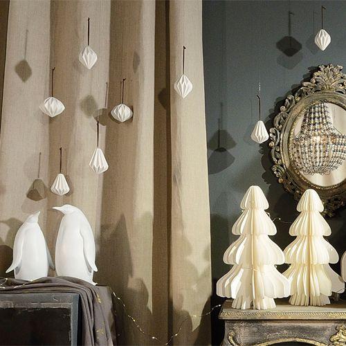 Décoration de noël origami papier blanc Jardin d\'Ulysse | [NOEL ...