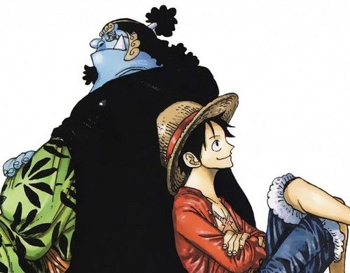 luffy and jinbei onepiece イラスト 甚平 ワンピース 絵