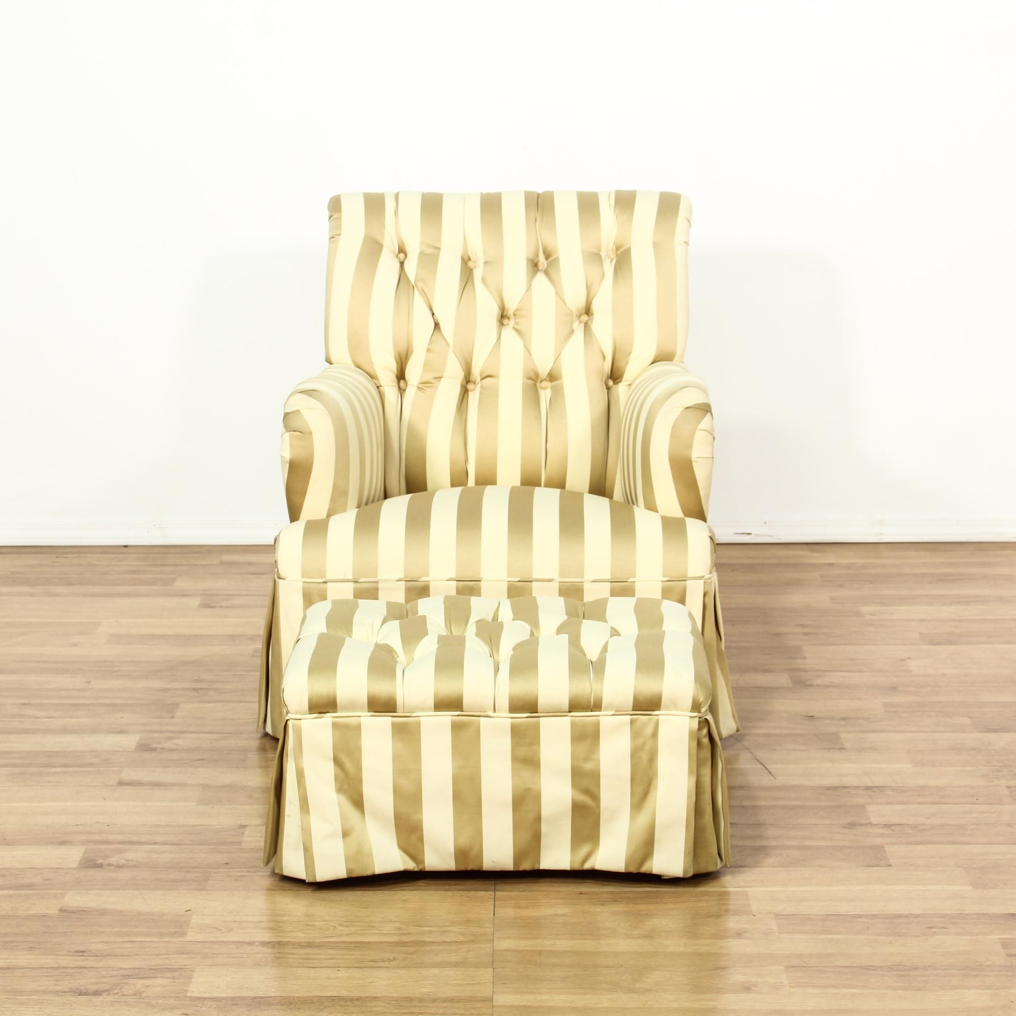 Striped Upholstered Chair U0026 Ottoman