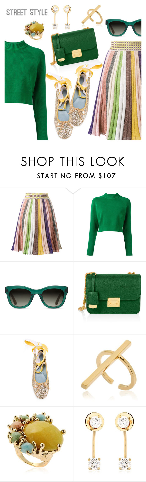 """Street Style"" by dressedbyrose ❤ liked on Polyvore featuring Missoni, DKNY, TOMS, Henri Bendel, Chiara Ferragni, Schield Collection, Rosantica, Maria Francesca Pepe, StreetStyle and polyvoreeditorial"