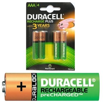 4 x AAA Duracell Rechargeable