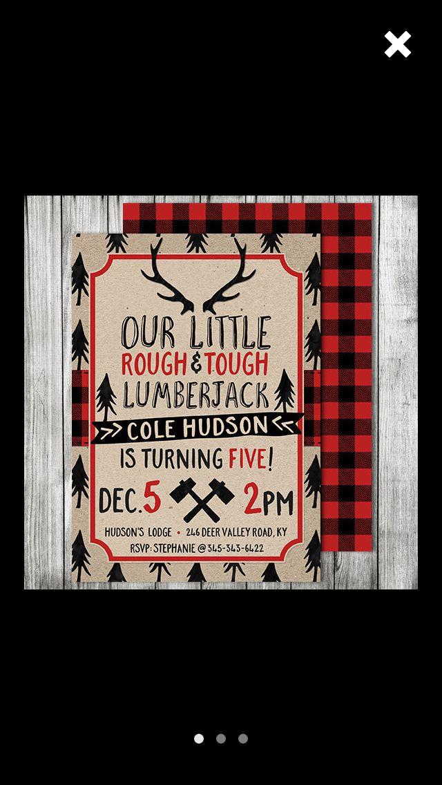 Lumberjack invites | 1 | Pinterest | Birthdays, Lumberjack party and ...