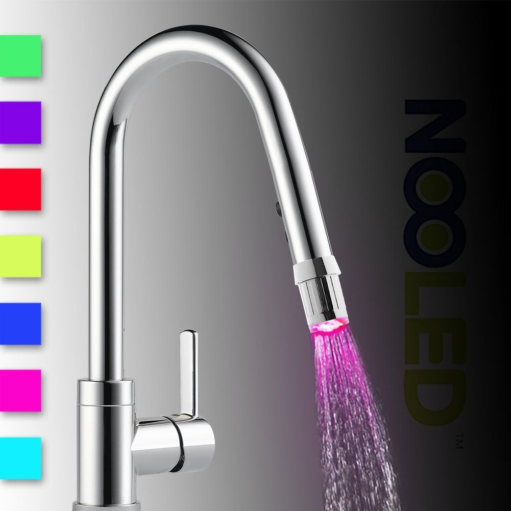 Nooled LED Water Faucet Stream Light 7 Colors Changing Glow Shower ...