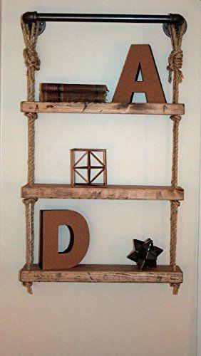 """Industrial Pipe & Rope Shelf, 23"""" Width, Industrial Pipe Shelf, Industrial Piping Shelves, Shelves"""