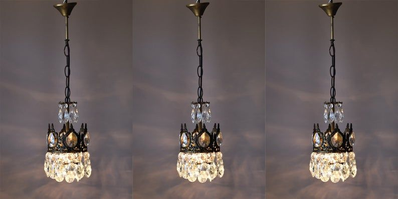 Three Matching Vintage Crystal Chandeliers Antique French Etsy