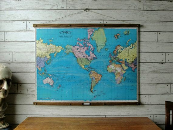 World map 1897 vintage pull down reproduction canvas fabric or world map 1897 vintage pull down reproduction canvas fabric or paper print oak wood hanger and brass hardware organic finish gumiabroncs Image collections