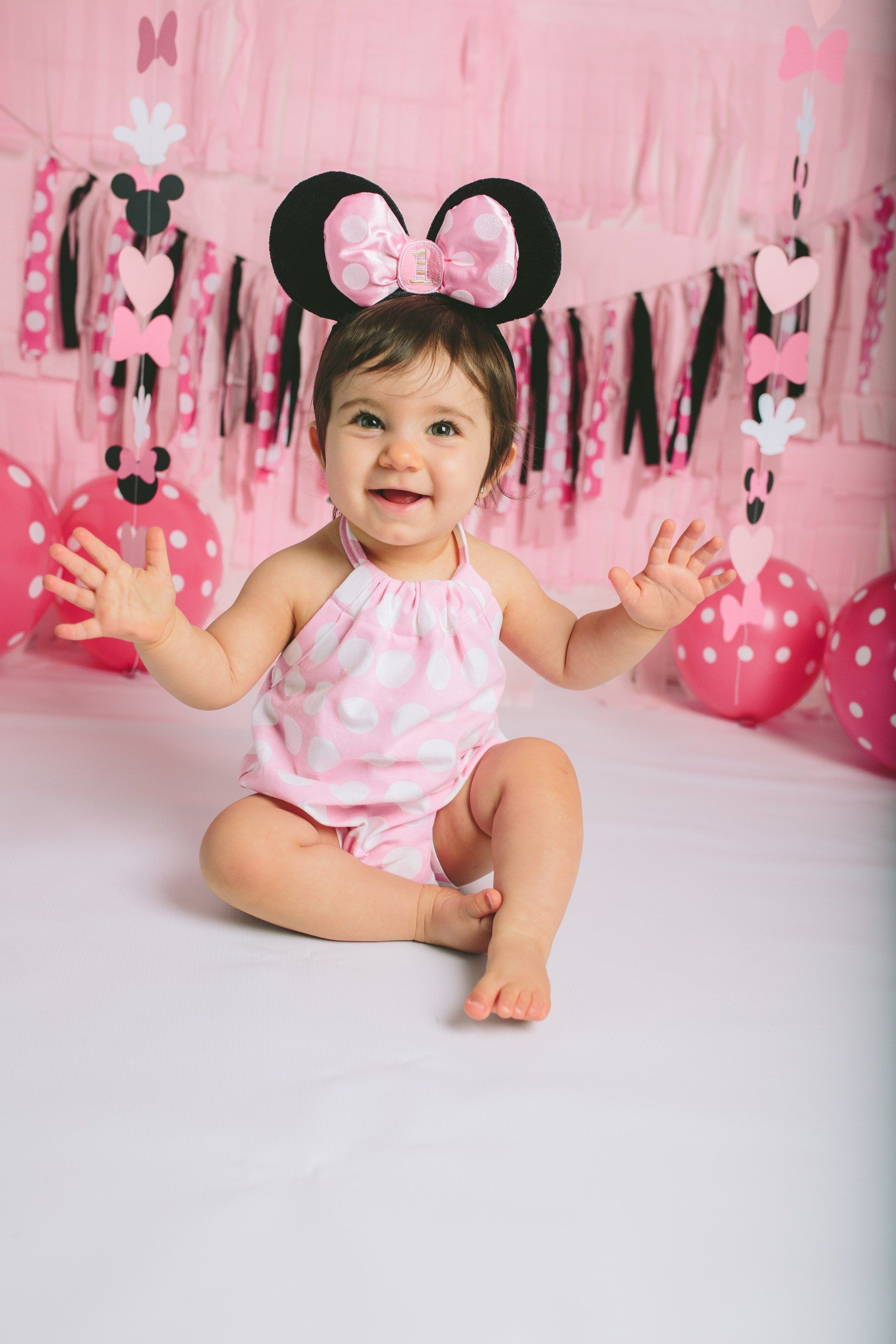 Minnie Mouse Themed Cake Smash 1st Birthday Baby S First