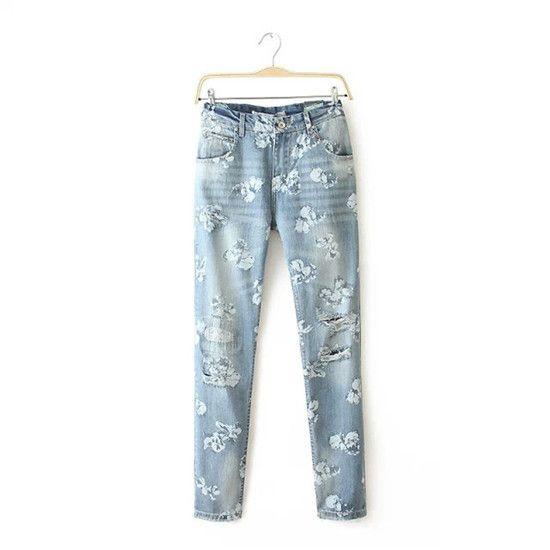 #aliexpress, #fashion, #outfit, #apparel, #shoes <font><b>Women</b></font>, #White, #Floral, #Print, #Denim, #jeans, #Washed, #Ripped, #Pencil, #Slim, #Pants, #Casual, #Fashion, #<font><b>Summer</b></font>, #Spring, #Autumn, #Sexy, #Jeans, #Plus, #Size http://s.click.aliexpress.com/e/buvZrR7qJ