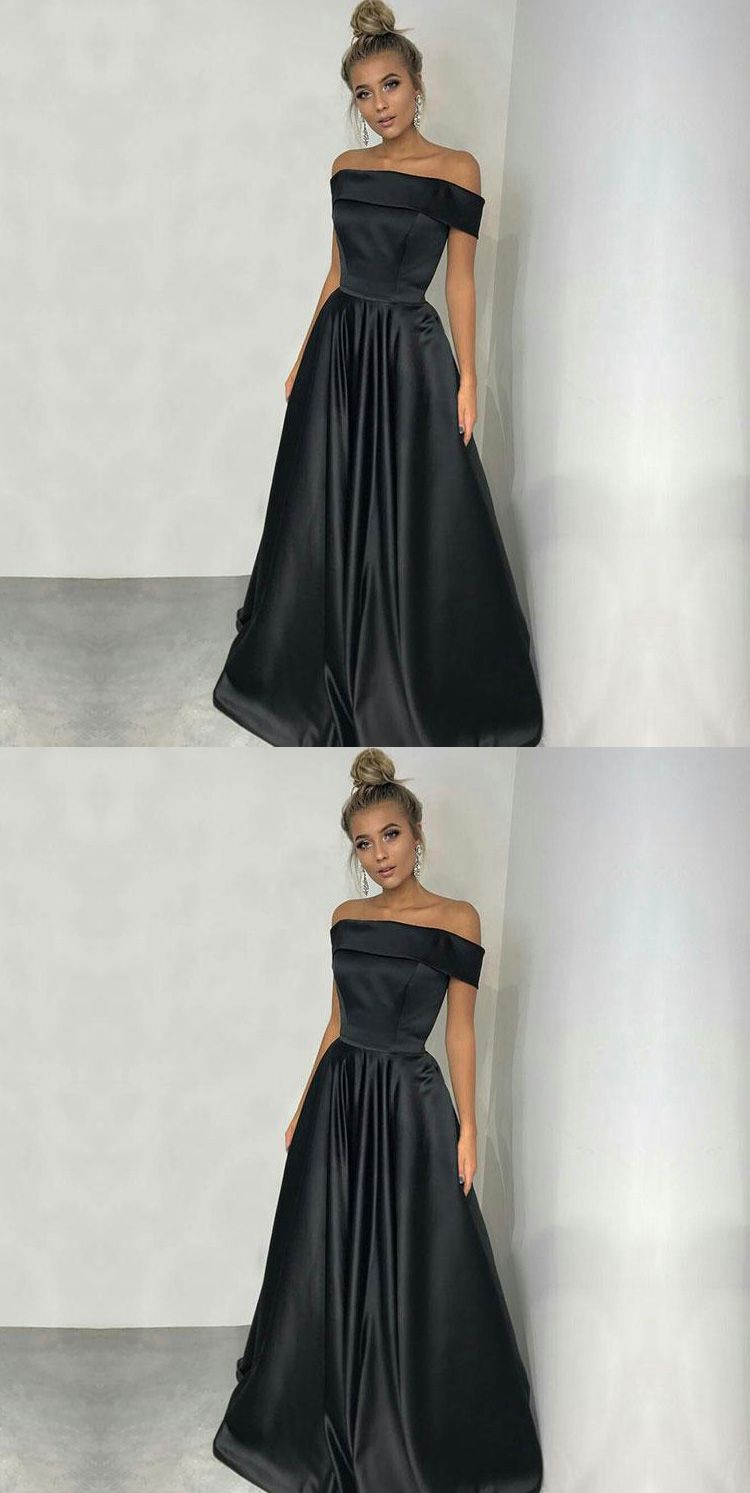 52067eaf03 Simple Off Shoulder Long Black Satin Prom Dresses Promdressesonline promdresses2018 simplepromdress blackpromdresses offshoulderpromdresses eveningdresses   ...