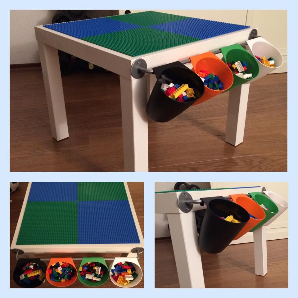 LEGO Table   LACK Coffee Table, BYGEL Rail And BYGEL Containers