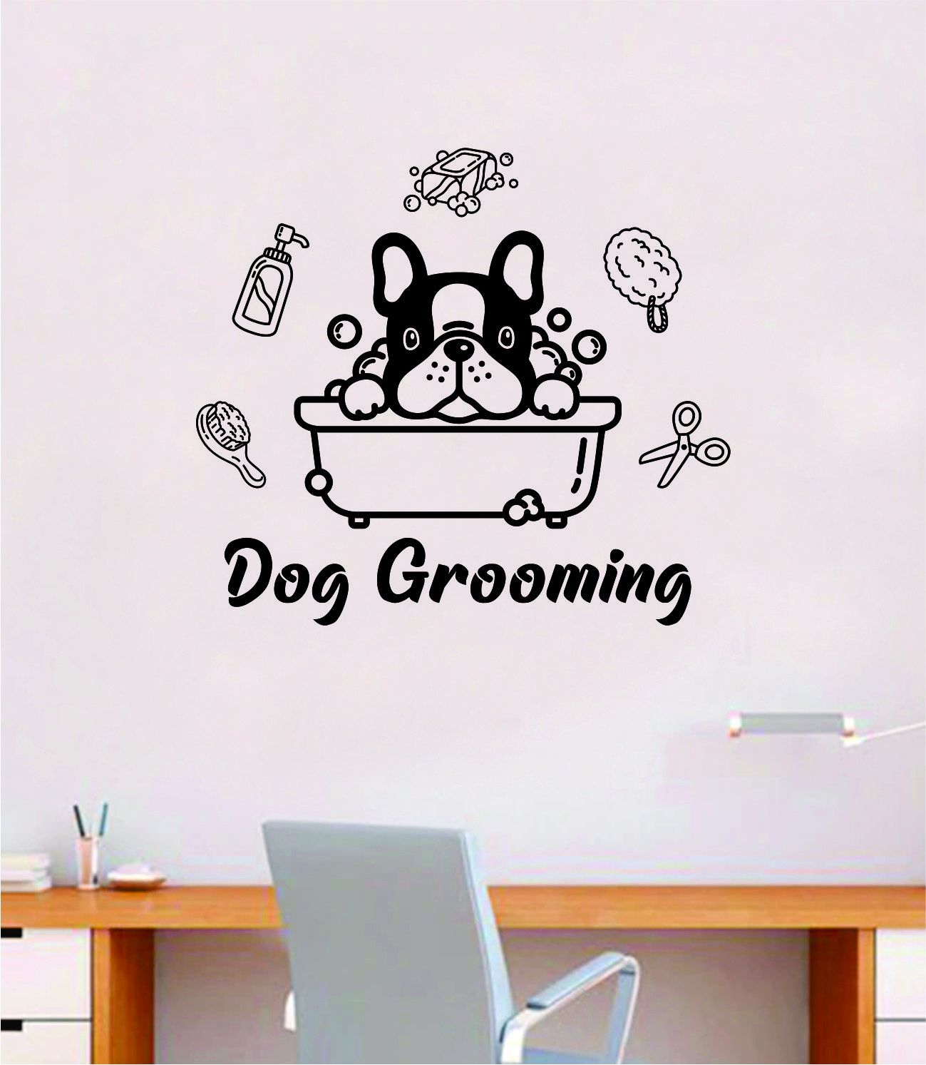Dog Grooming Quote Wall Decal Sticker Bedroom Home Room Art Vinyl Inspirational Decor Cute Animals Puppy Pet Vet Rescue Adopt Foster - brown