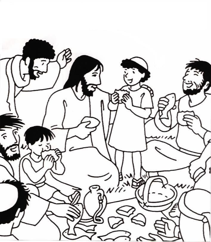 Coloring Page Of Jesus Feeding The 5000 Jesus Feeds 5000 Coloring