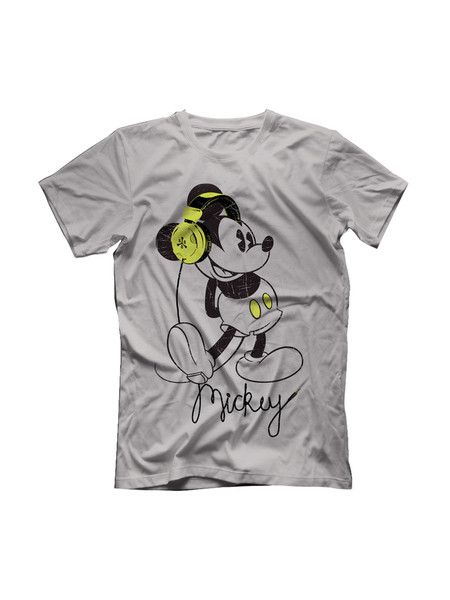 Like music? Like Mickey? Wear this Musically Yours grey T-Shirt with Mickey showing off his neon headphones and add some music to your life....