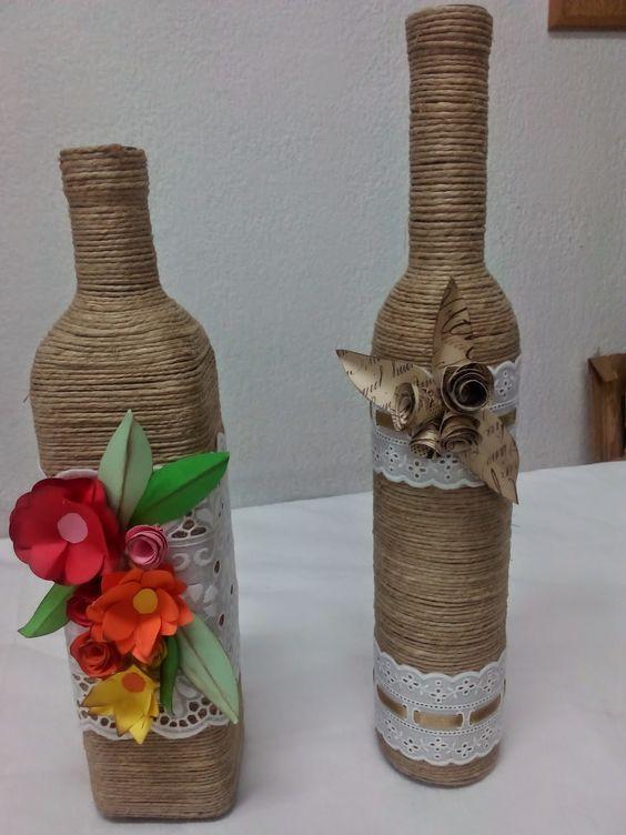 Resultado de imagen para botellas decoradas manualidades Fiestas