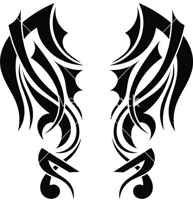 Graphic design tribal tattoo wings vector art - Download ...