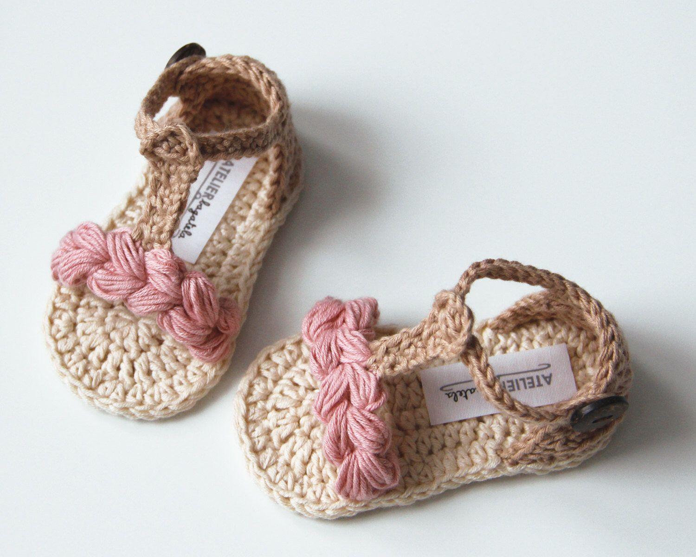 45426ec47c303 KORA Boho Baby Girl Sandals, Natural Summer Baby Shoes, Crochet Baby ...