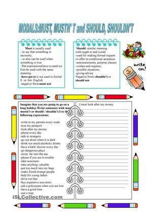 2 pages short grammar review writing exercises with should must writing exercises with should must giving advice matching pictures and homework esl worksheets ibookread PDF