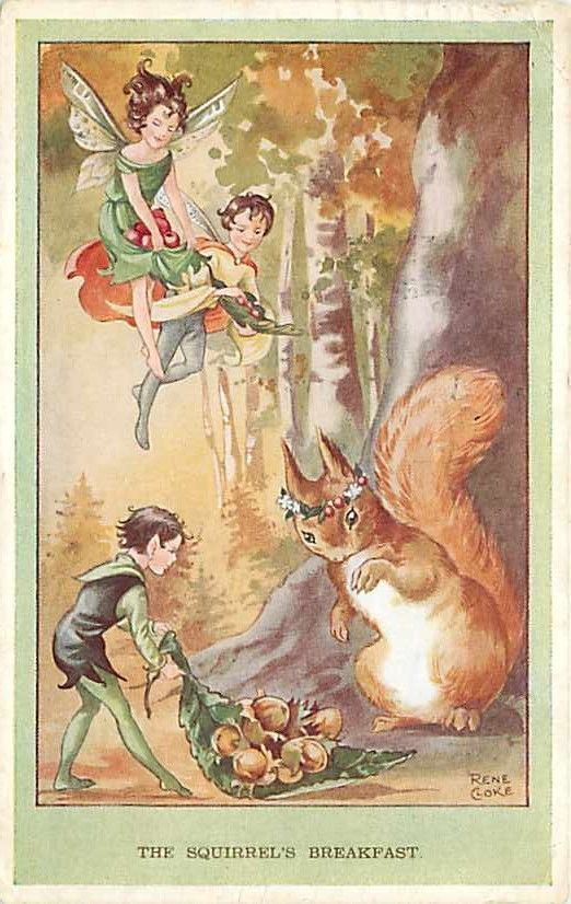 "This is a nice vintage printed postcard signed by artist Rene Cloke titled ""The Squirrel's Breakfast"". Publisher: Valentine No 4622."