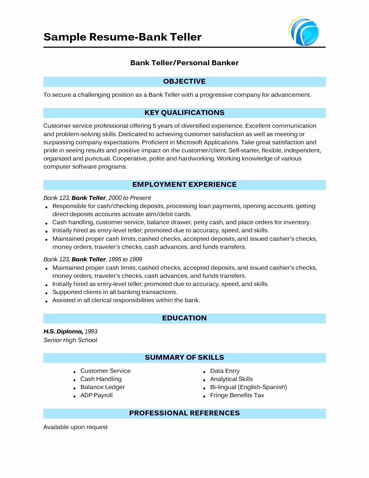 Bank Teller Resume lettersampel letterformat