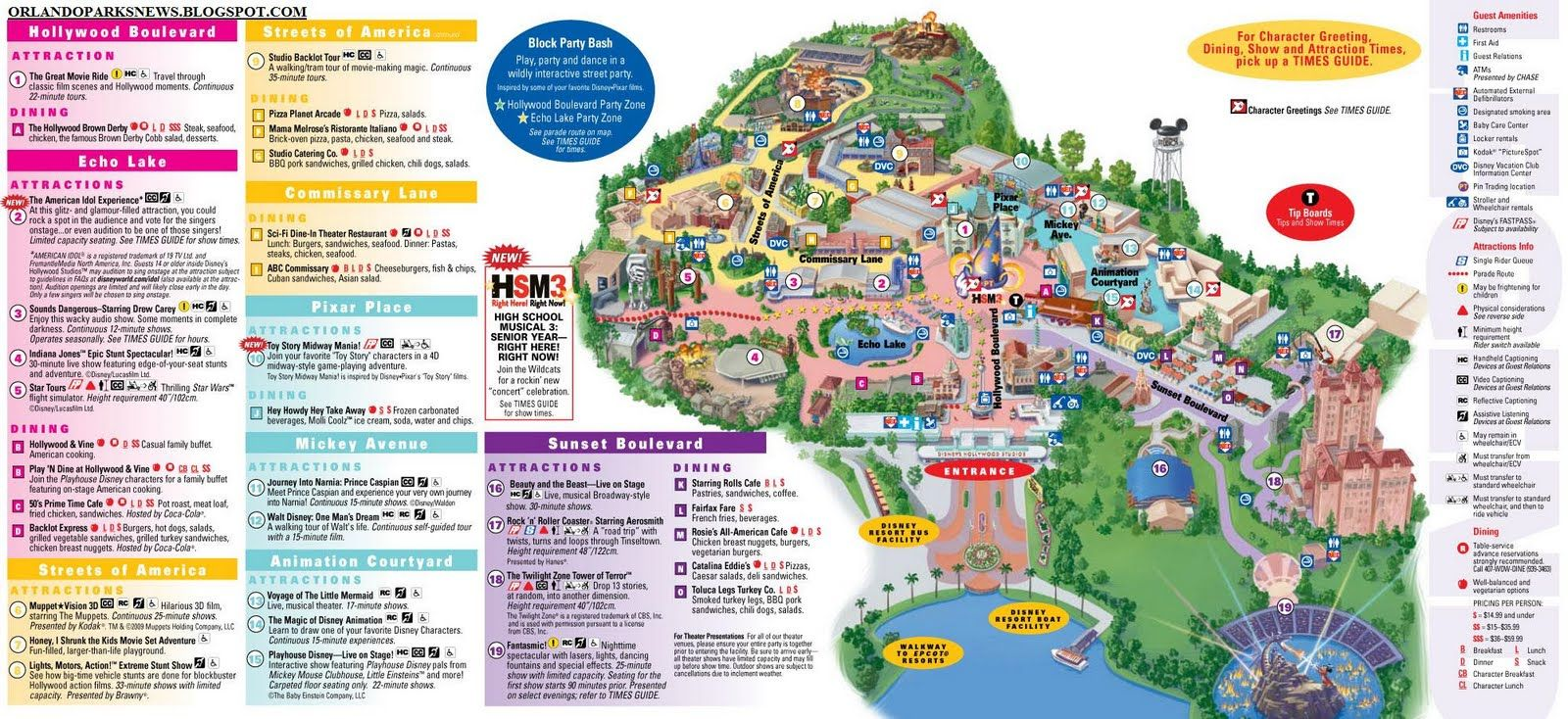 MGM Studios Orlando Theme Park Disney 39 s Hollywood Studios park map Tr