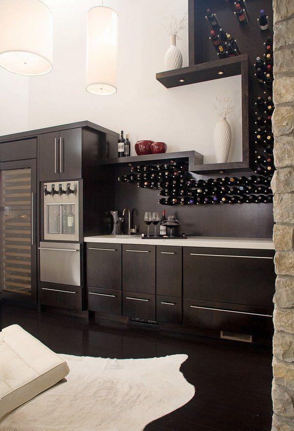 Wall Mounted Wine Racks Ideas Contemporary Open Kitchen Wine Storage