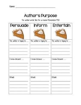 Author's Purpose worksheet using PIE | Guided Reading ...