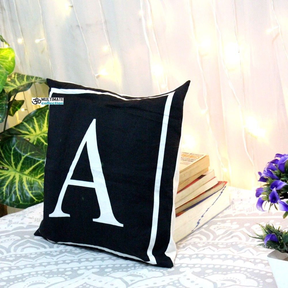 A letter decorative pillow with zip cover pillow and pillows