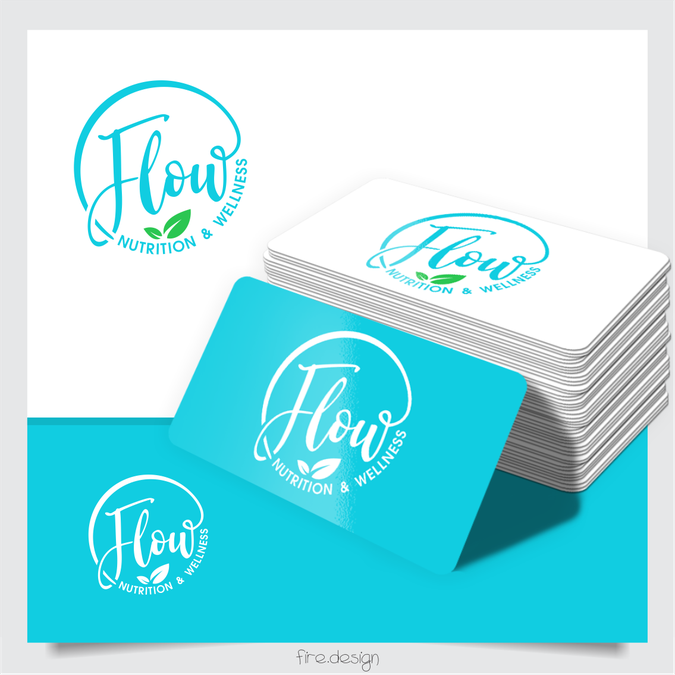 Design a simple modern logo for Flow nutrition and wellness by fire.design