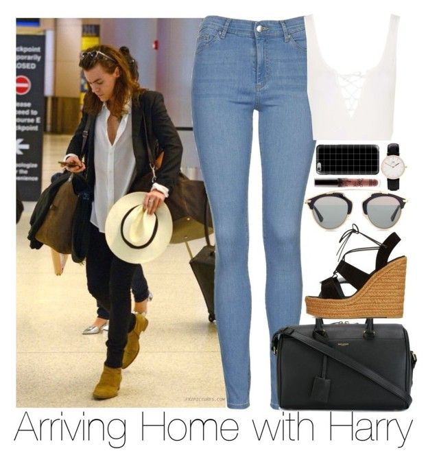 """""""Arriving Home with Harry"""" by zarryalmighty ❤ liked on Polyvore featuring Topshop, Yves Saint Laurent, Christian Dior, Casetify, Daniel Wellington, OneDirection, harrystyles, onedirectionoutfits and onedirectionsets"""