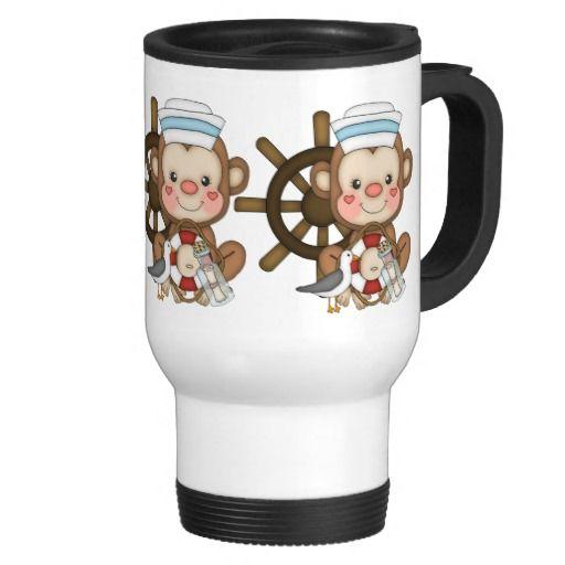 Cartoon Sailing Monkey travel mug