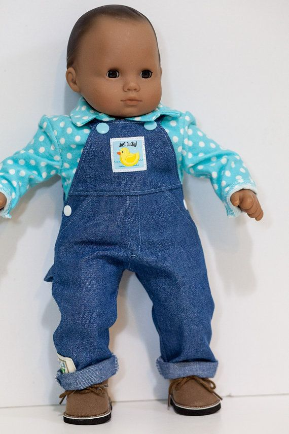 """Doll Clothes Baby Made2 Fit American Girl Boy 15/"""" Bitty Overalls Shirt Dots Blue"""