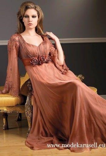 Langarm Abendkleid Lang in Bronz Braun | Abendkleid ...