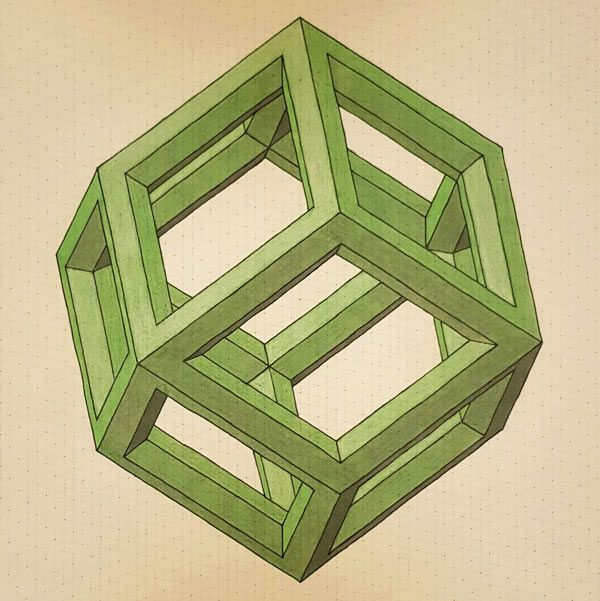 Rhombic Dodecahedron Cage Drawing On D Grid Paper  D And Drawings