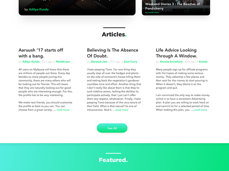 Minimal Webpage Section : Articles