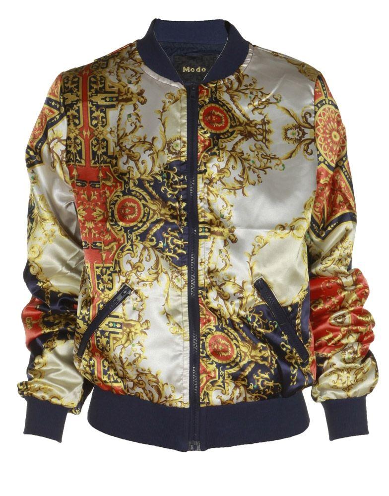 Beige Baroque Print Zip-Up Satin Jacket