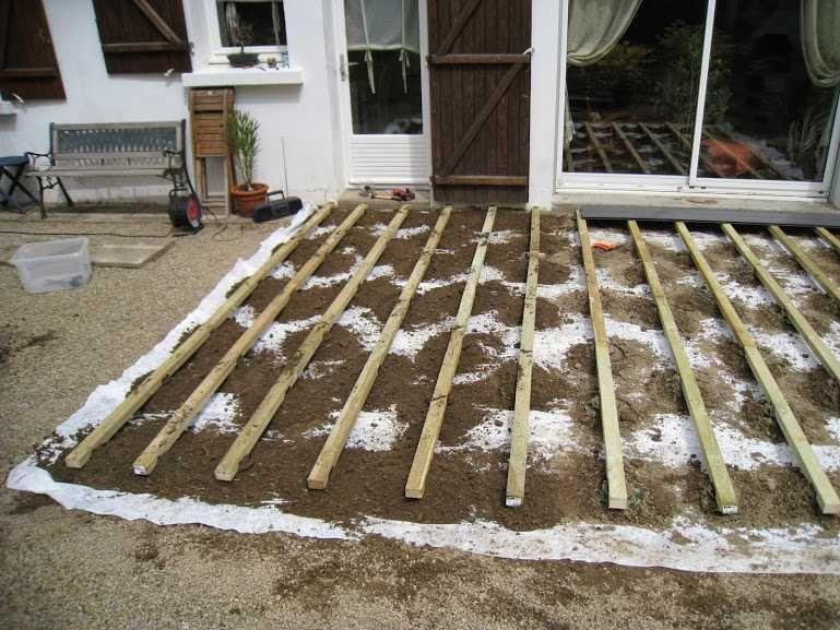 Comment Poser Une Terrasse Composite Sur Lambourdes Et Plots Terrasse Composite Terrasse Bois Composite Et Terrasse