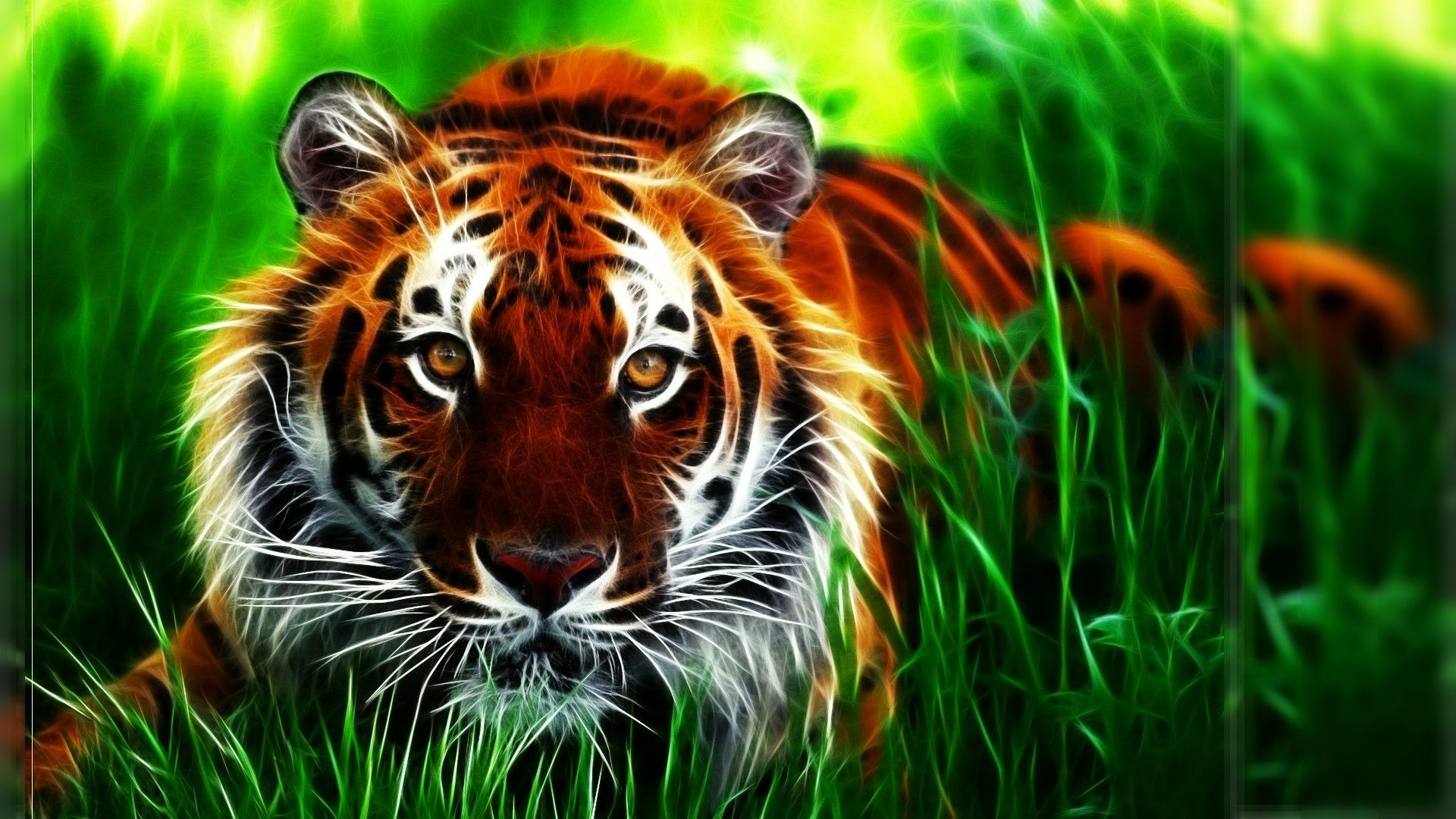 d tiger photoshop fractal wallpaper 960×640 green tiger wallpapers