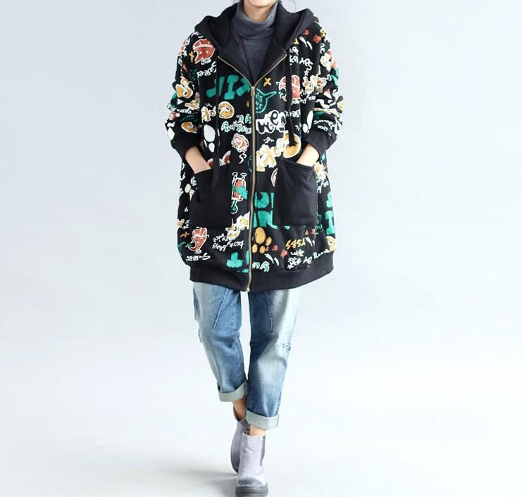 Loose cotton Plus velvet coat Winter hooded loose by MaLieb