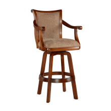 Brandon 22 Inch Wide Wood Framed Polyester Swivel Bar Stool With Self Returning Seat With Images Swivel Bar Stools Bar Stools Brown Bar Stools