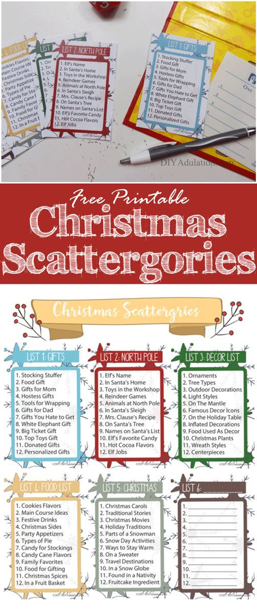 Free Printable Christmas Scattergories Game Diy Adulation Free Christmas Printables Christmas Games Christmas Party Games