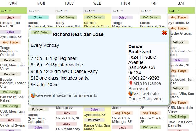 DanceMaven.com - partner dancing website I created - the most complete SF Bay Area dance calendar & more