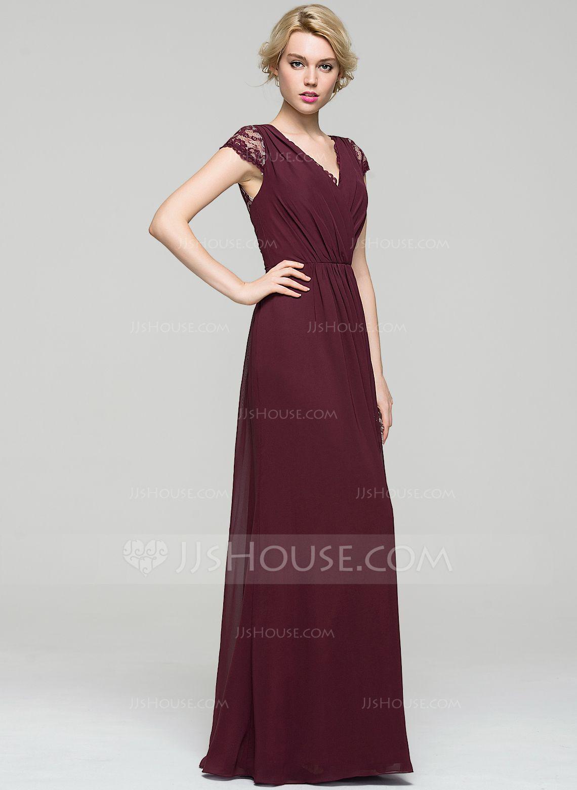 A-Line/Princess V-neck Floor-Length Chiffon Evening Dress With ...