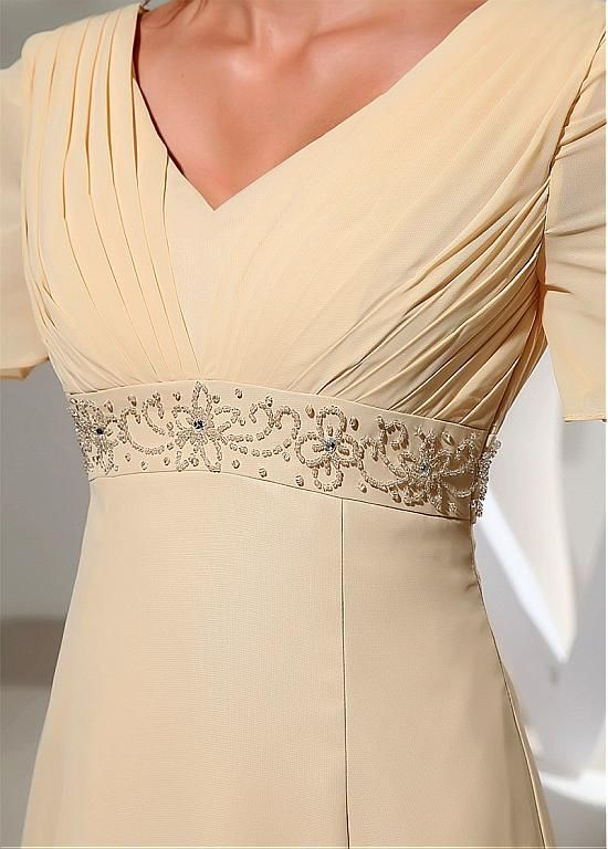 Stunning Chiffon V-neck Neckline Short Sleeves A-line Mother Of The Bride Dresses With Beadings - Adasbridal.com