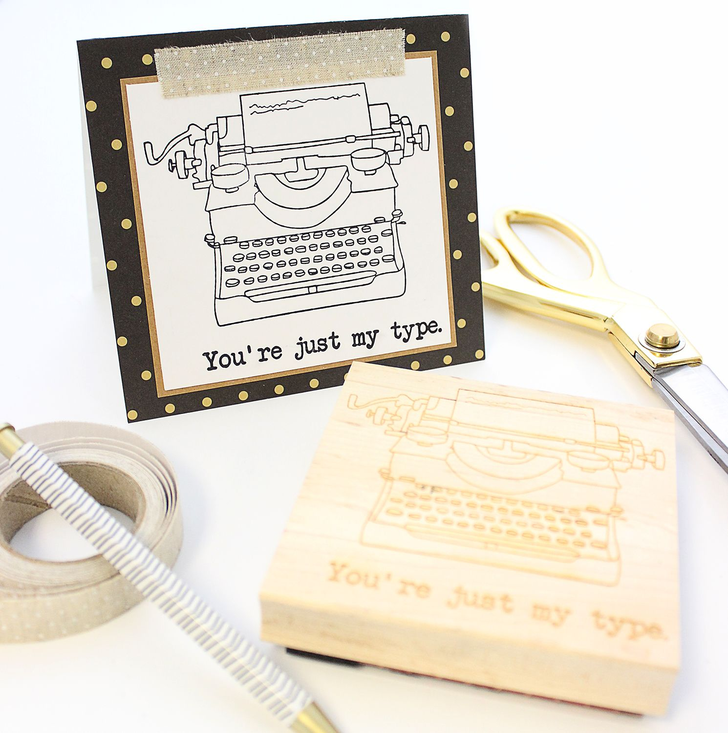 """Design Your Own Rubber Stamp: """"You're Just My Type"""" Typewriter Rubber Stamp"""