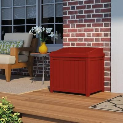Suncast 22 Gal Resin Storage Seat Deck Box Ss1000rd The Home Depot Deck Box Small Storage Storing Garden Tools